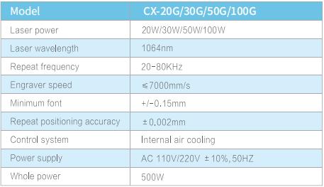 CX-100G光纤激光打标机